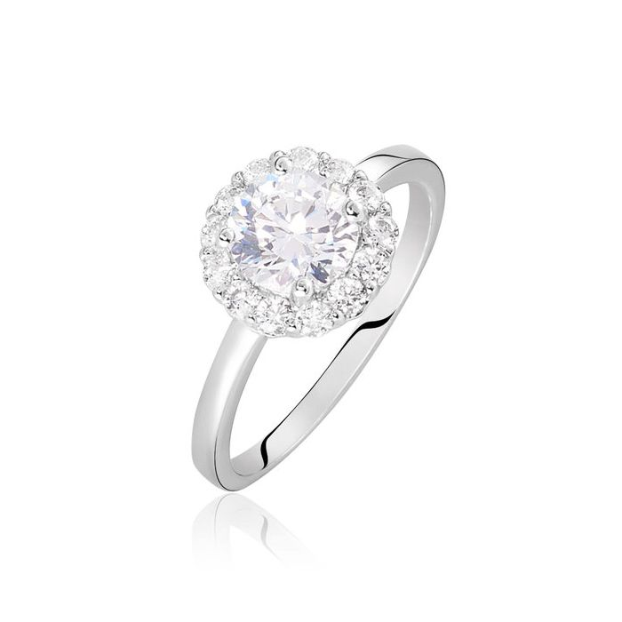 Hollywood Ring - Halo of Diamonds - 18k Gold - Solitaire - Eternity