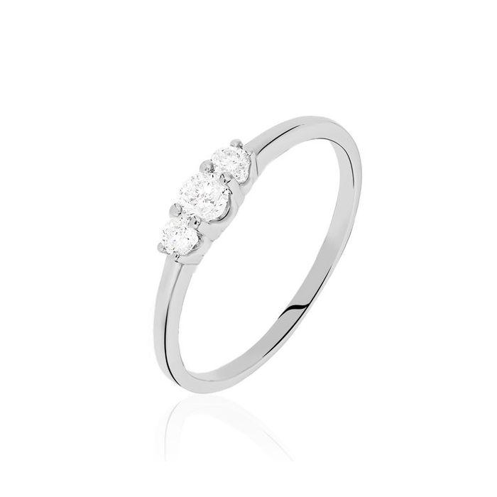 Anillo de compromiso Lugano: Tres diamantes robustos y brillantes