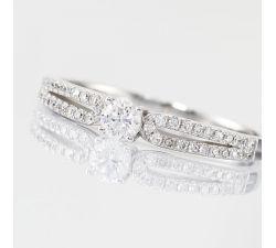 Anillo de compromiso Sarasota: Cuerpo dividido de diamantes y oro
