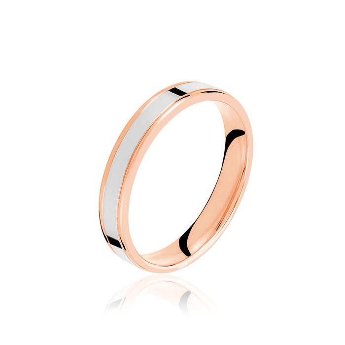 Argolla de matrimonio Manta: Bicolor de incrustación rosada de oro